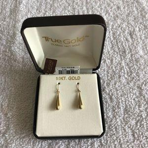 True Gold Classic 14K Gold Teardrop Wire Earrings